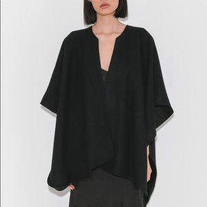 Jesse Kamm Ama Warming Cape in black wool/linen